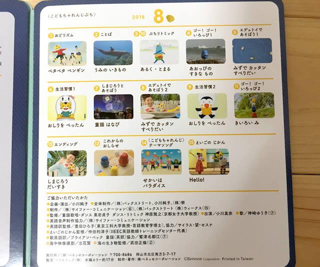 こどもちゃれんじぷち2018年8月号。DVD8月